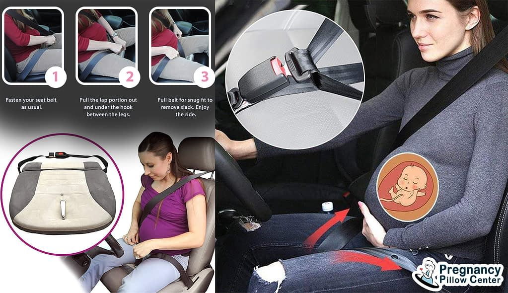 Seat belt adjustable travel pregnancy pillow use when traveling in car or vehicle in maternity.