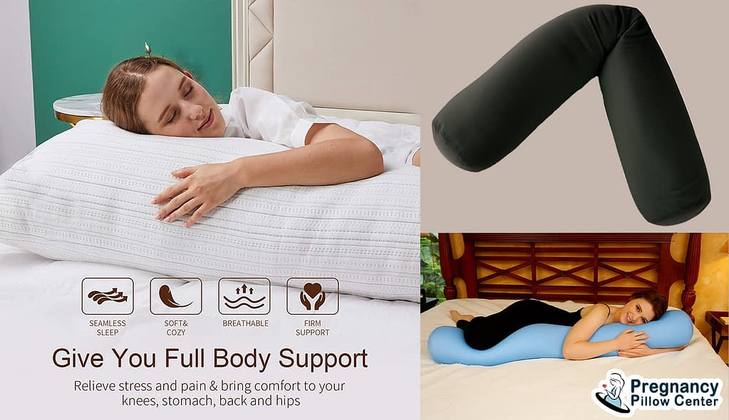 A foldable full length full body pregnancy pillow relieves stress and pain, comfort to knees, stomach, back, and hips.