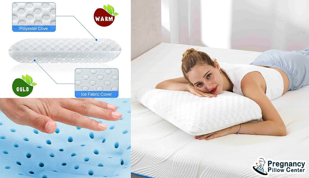 Aircell Memory Foam Pregnancy Pillow is covered with a polyester and ice fabric cover.
