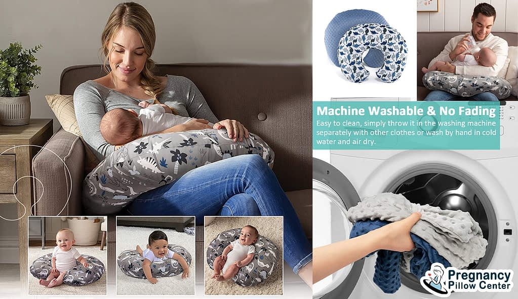 Rounded organic breastfeeding pillow (Nursing pillow) use for breastfeeding, tummy time, sitting, and has a washable, removable pillow cover.
