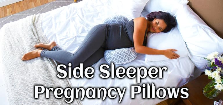 Side sleeper pregnancy pillow provides side sleeping posture while sleeping.