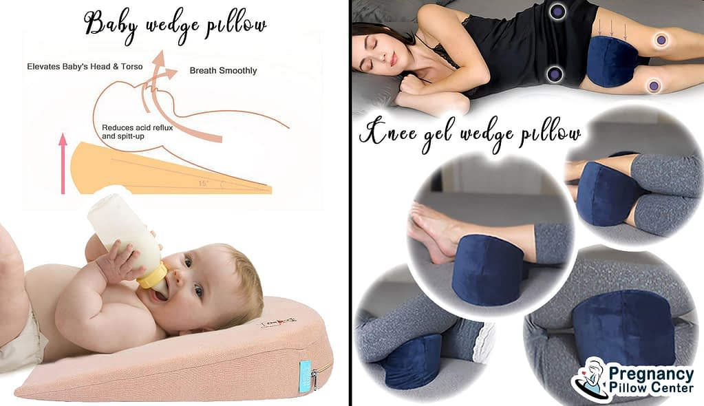 Pregnancy wedge pillow perform different purposes: baby wedge pillow and Knee gel wedge pillow