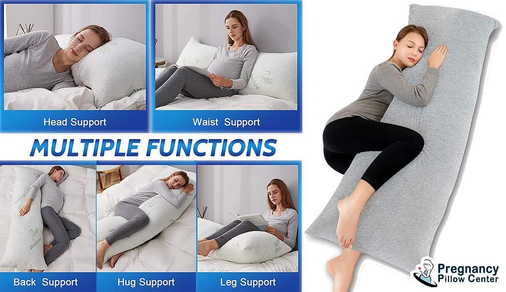 Rectangular full length full-body pregnancy pillow supports to head, waist, back, hug, and leg.