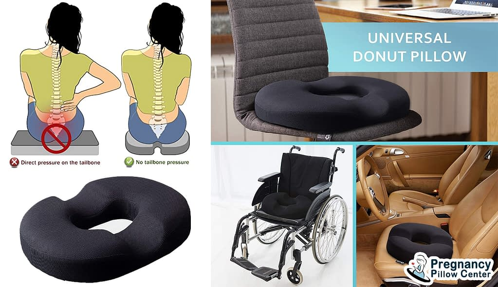 Donut seat-travel pregnancy pillow mainly used for sitting on chair and provides ergonomic place to sit.