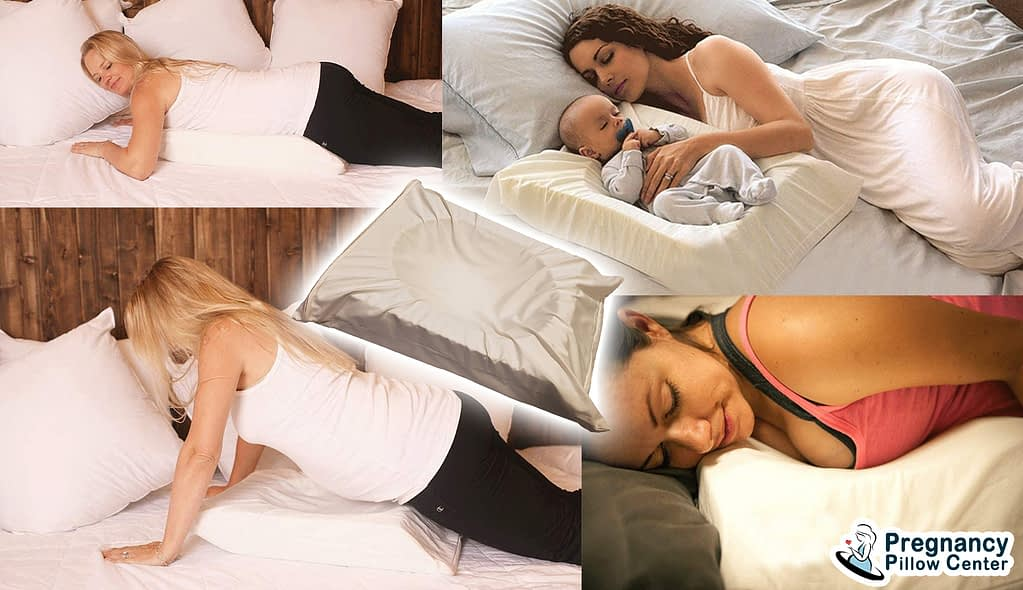 Mini stomach sleeping pregnancy pillow support for stomach sleeping and retaining baby.