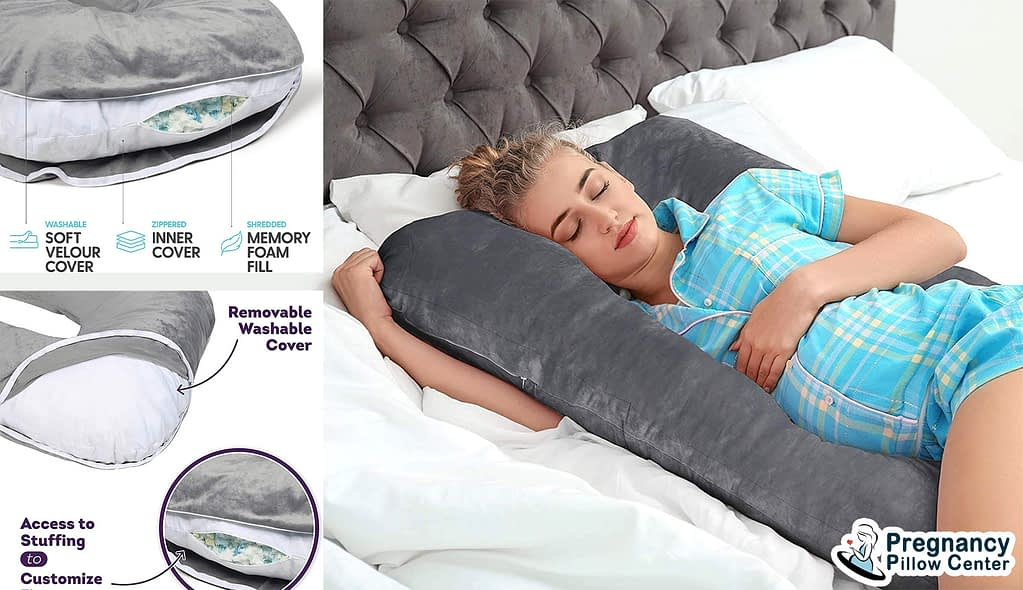 U shaped memory foam pregnancy pillow is covered in soft velour cover and filled with memory foam filling.
