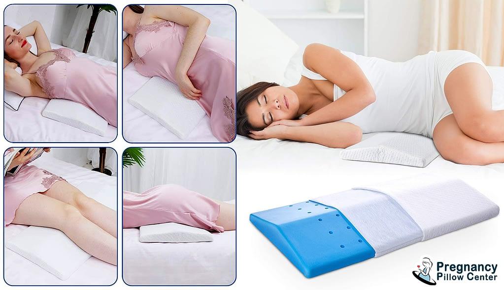 Lumber memory foam pregnancy pillow has a high-tech cooling gel memory foam and keeps you in a cool deep sleep.