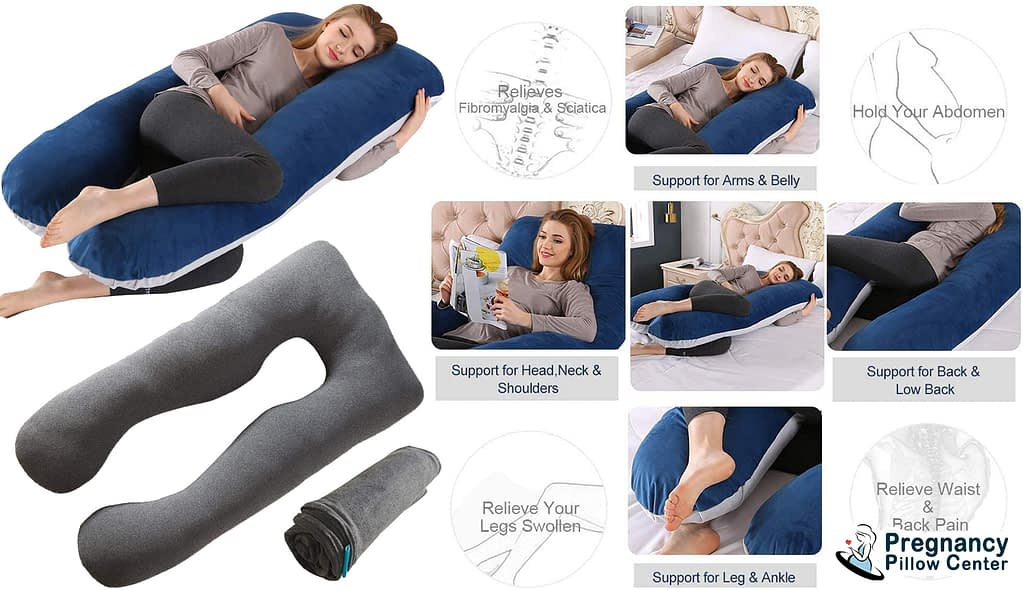 Inside specific U-shaped full-body pregnancy pillow has a unique shape and use to support arms, belly, low back, leg, ankle, head, shoulders.