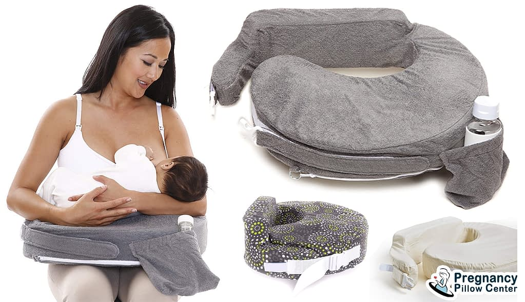 A flat surface breastfeeding/Nursing pillow use for breastfeeding and has a small pocket to retain a milk bottle.