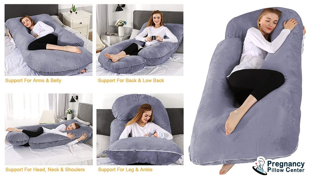 Fully covered full-body pregnancy pillow support for arms, belly, low back, head, neck, shoulders, leg, ankle.