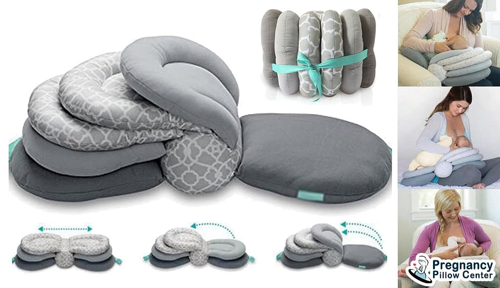 Breastfeed baby using adjustable breastfeeding pillow (Nursing pillow) with adjusting specific height of the pillow.