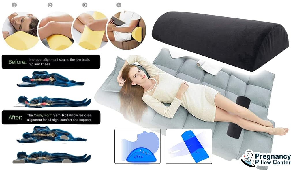 Half-moon back support-sleeping pregnancy pillow used in maternity for knee, head, spine, and give good position when sleeping.