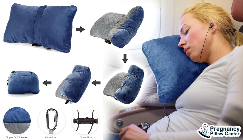 Compact portable-travel pregnancy pillow has square shape and it can be easily packed when traveling in maternity.