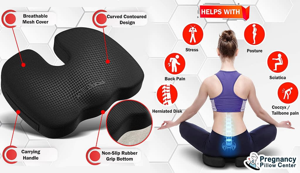Seat Cushion Memory Foam Pregnancy Pillow provides multiple uses.