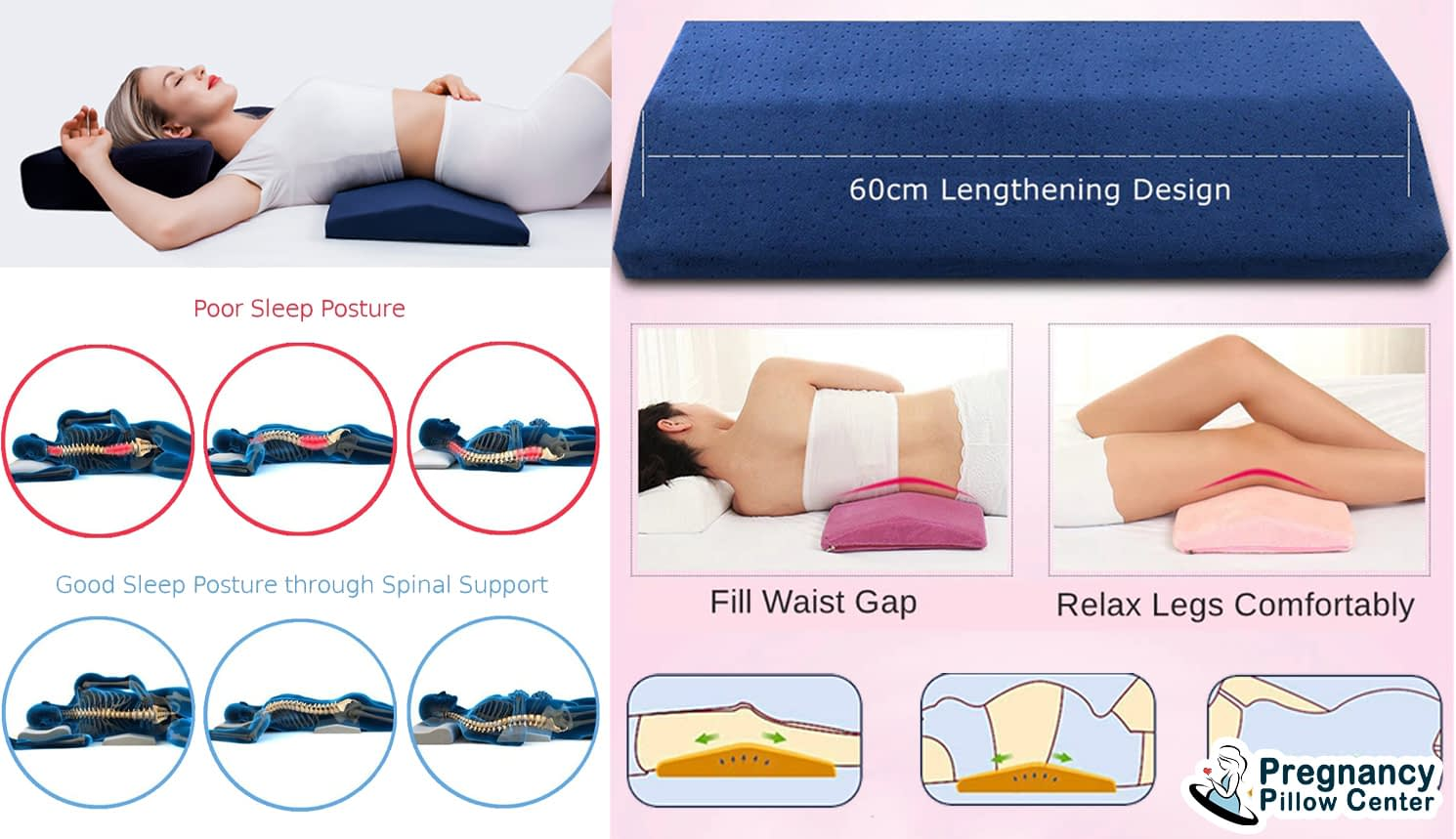 Lumber back support-sleeping pregnancy pillow helps good posture when sleeping and use for the spine, knee during maternity..