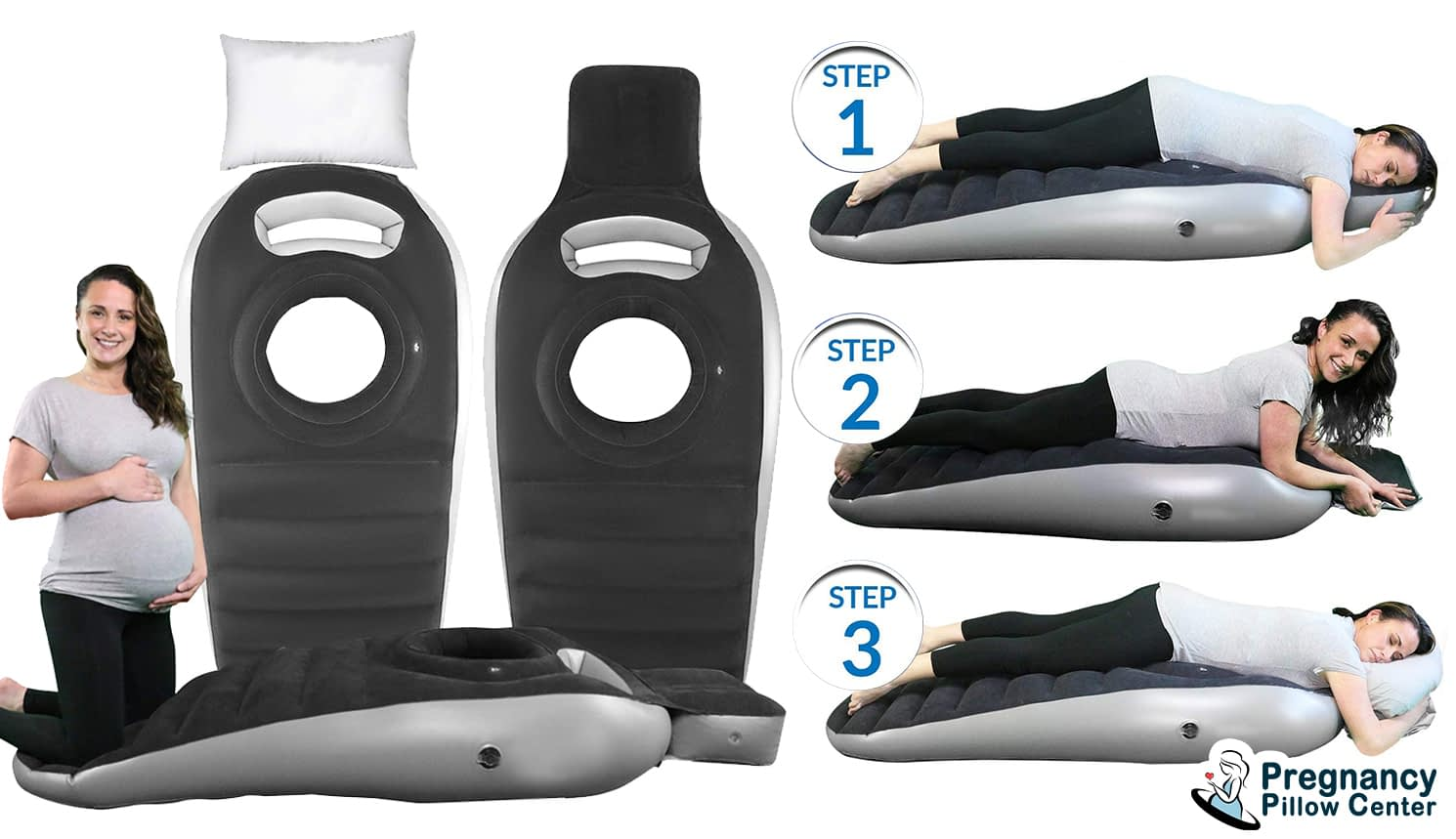 Sloping stomach sleeping pregnancy pillow has slope from head to leg and use to stomach sleeping