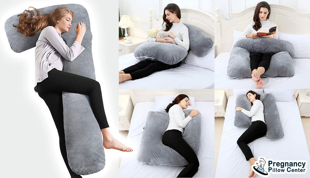L-shaped full-body pregnancy pillow is foldable and can be used for sleeping, reading books, retaining baby.