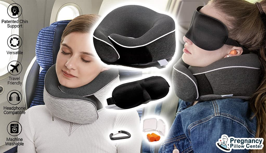 Chin supporting portable-travel neck pillow support to comfortable sleeping while traveling in maternity.