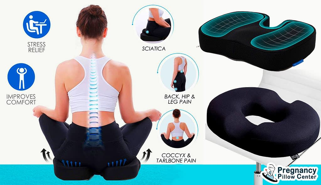 Both donut seat and tailbone travel pregnancy pillow are helped to back pain during pregnancy.