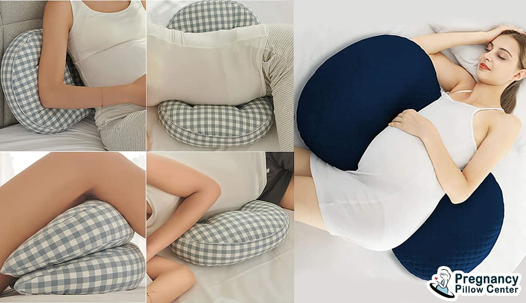Double side sleeper pregnancy pillow support to belly and spine while sleeping during maternity and gives multiple uses