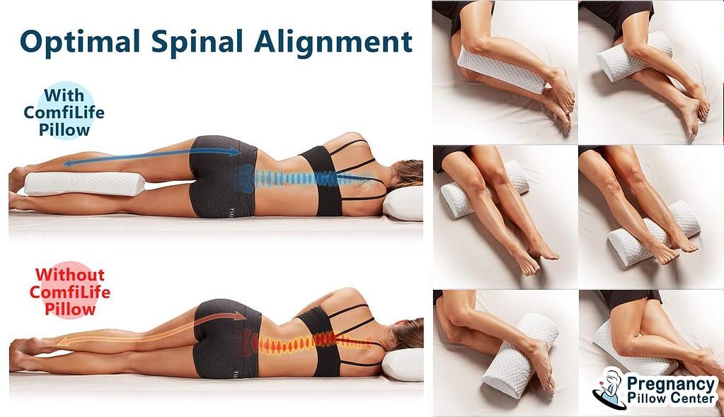 Semi roll memory foam pregnancy pillow provides optimal spinal alignment.