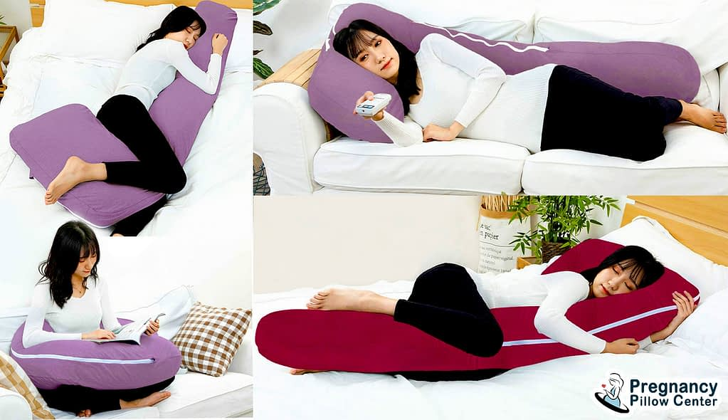 L shaped soft pregnancy pillow available for any plus size mom.