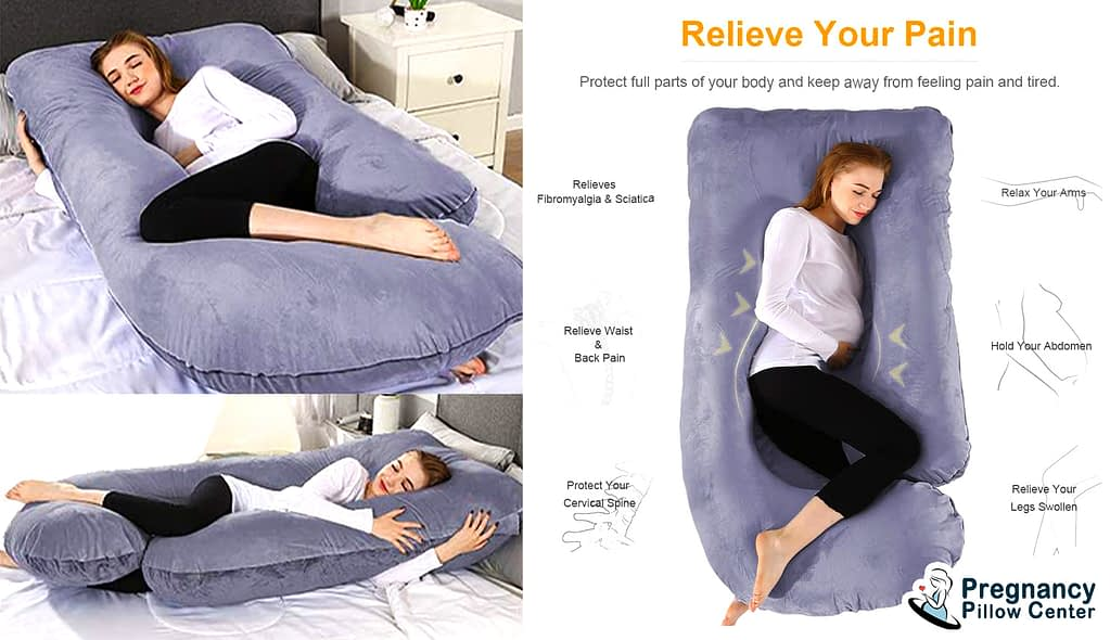 This hypoallergenic U-Shaped Pregnancy Pillow has super comfort and helps to relieve pain during pregnancy.