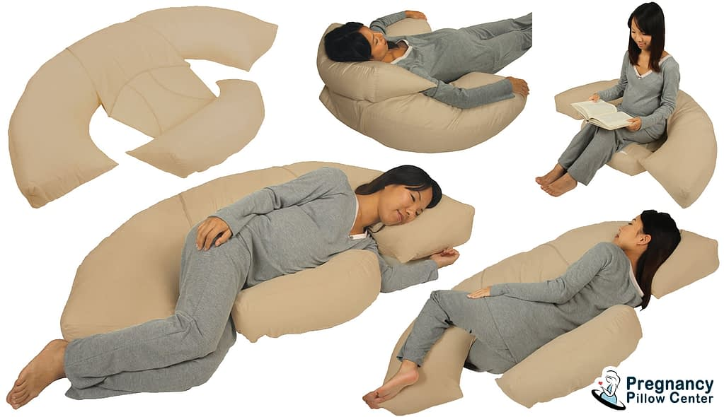Body bumper full-body pregnancy pillow use for sleeping, reading books, and relaxation.